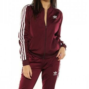 Adidas Burgundy Supergirl Track Jacket
